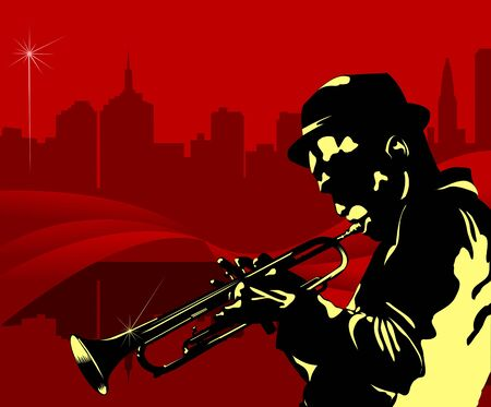 sax: Man playing trumpet on the background of the city at night;