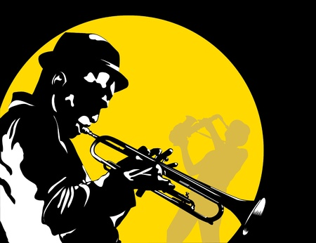 sax: Man playing trumpet on the background of the moon;  Illustration
