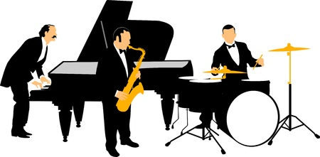 Vector drawing music jazz orchestra. Artists on stage;  Vector
