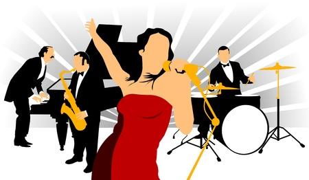 Vecteur dessin musique jazz orchestra. Artistes sur scène.