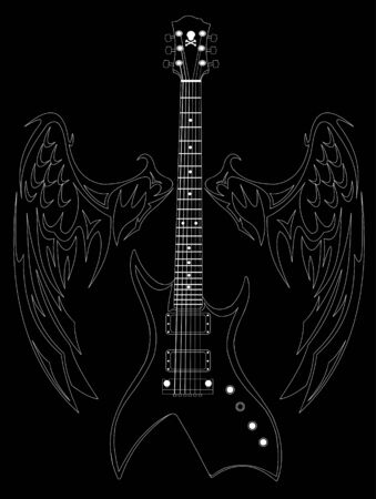 White silhouette of a guitar and wings on a black background; Stock Vector - 9507040