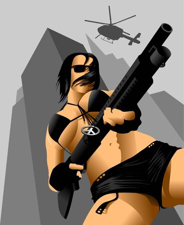armed: vector illustration of a beautiful woman holding a rifle;