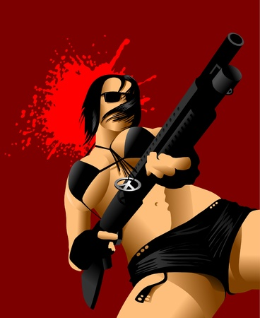 vector illustration of a beautiful woman holding a rifle;  Vector