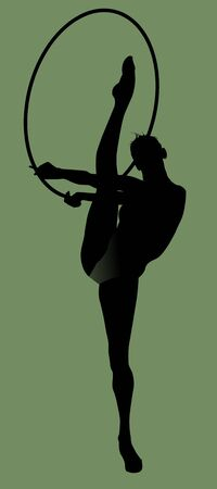 The gymnast performs a difficult exercise (vector illustration);  Vector