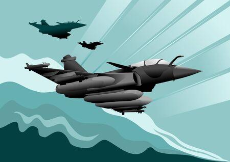 modern fighter: tre aerei militari in allerta (illustrazione vettoriale);