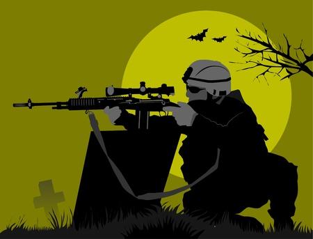 soldado va en un reconocimiento de la noche en el desierto;