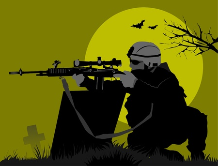 tactical: soldier goes on a night reconnaissance in the desert;  Illustration