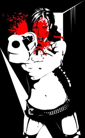 hooligan: Vektor-Illustration einer sch�nen Frau holding eine Waffe;