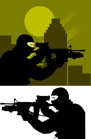 Sniper from the anti-terrorism branch on the job;  Stock Vector - 9507046
