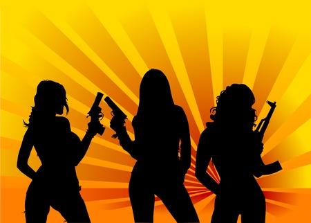 탄약: vector illustration of a beautiful woman holding a gun;
