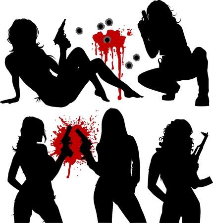 garde du corps: illustration vectorielle d'une belle femme tenant un fusil; Illustration