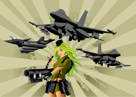 battle plane: ilustraci�n vectorial de una hermosa mujer sosteniendo un arma de fuego;  Vectores