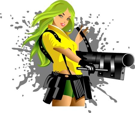 vector illustration of a beautiful woman holding a gun; Illustration