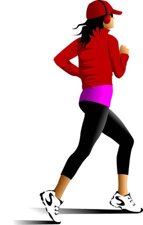donna che corre: Disegno vettoriale in esecuzione atleti. Sagome di persone;
