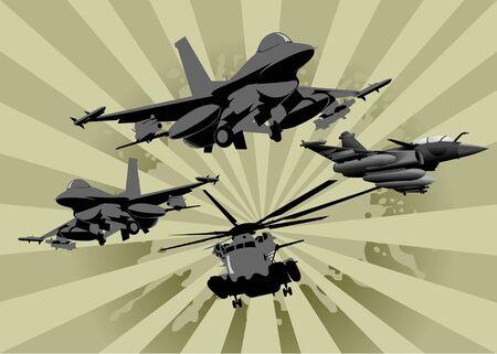 modern fighter: quattro aerei militari in allerta (illustrazione vettoriale);