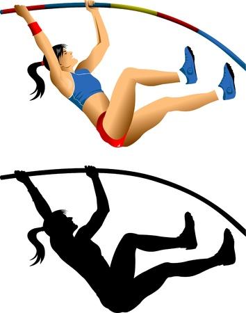 salti: ginnasta femmina salta fuori un sesto (illustrazione vettoriale);