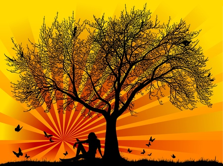 Silhouette of a woman with butterflies with a sunset or sunrise;  Vector