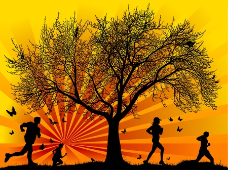 healthy woman: drawing running athletes. Silhouettes of people,