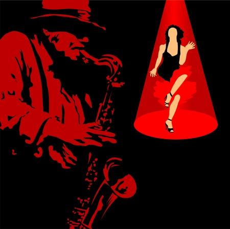 Man met saxofoon op een zwarte achtergrond;