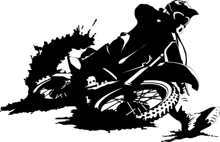 rally: A silhouette of a motorcycle racer commits high jump;  Illustration