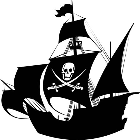 historical ship: silhouette of a pirate ship with the image of a skeleton on the sail;