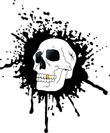 skull against the black spots of blood (vector);  Vector