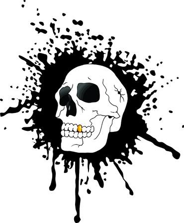 skull against the black spots of blood (vector); Stock Vector - 9720504