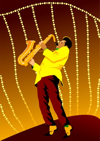 vector background with hand drawn saxophone;  Vector