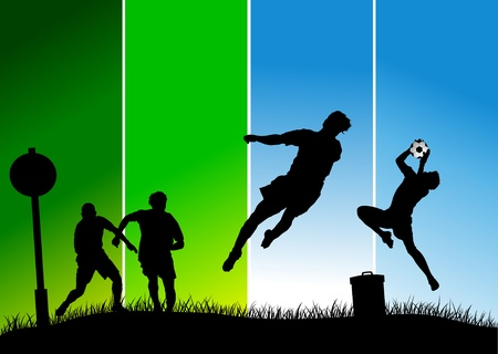 soccer design element; green background (vector-illustration);  Vector