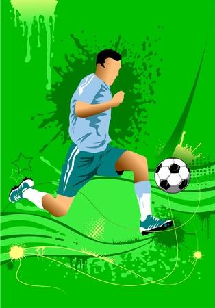 soccer design element; green background (vector-illustration);  Vector
