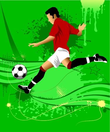 athletics: soccer design element; green background (vector-illustration);  Illustration