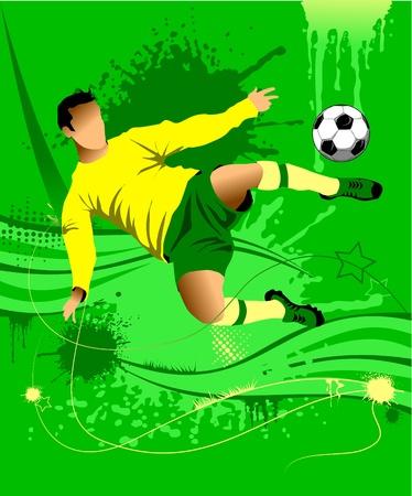 goal keeper: Voetbal ontwerpelement; groene achtergrond (vector-illustratie);  Stock Illustratie