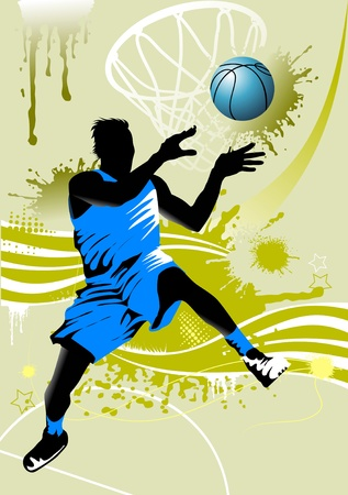 player in basketball at the background of basketball rings Stock Vector - 9841096