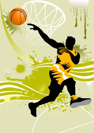 player in basketball at the background of basketball rings Vector