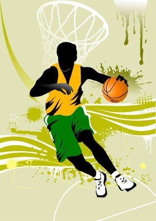 действие: игрок в баскетбол на фоне баскетбольные кольца