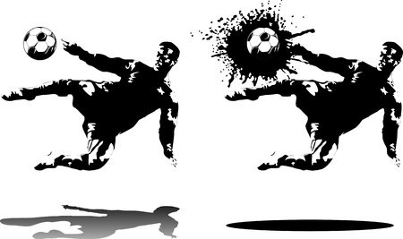 football kick: soccer design element, black background  Illustration