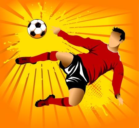 torwart: Fu�ball, Design Element, orange-Hintergrund