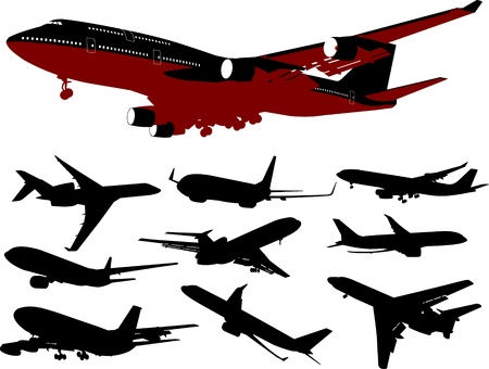 large collection of aircraft of different types Vector