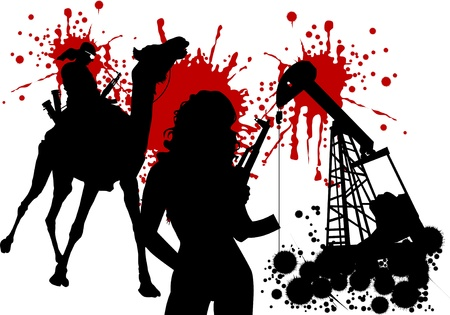 humped: silhouettes of armed men against the background of petroleum rigs;