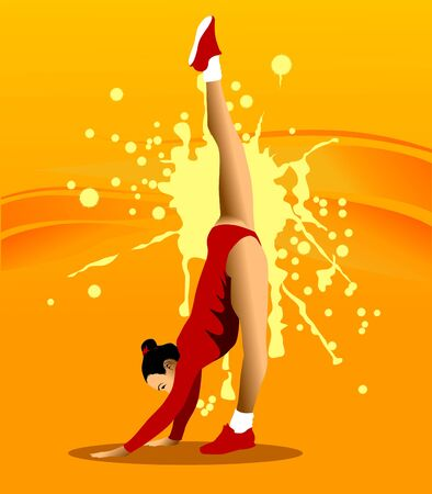 The gymnast performs a difficult exercise Vector