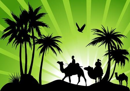 groene oase in de woestijn; een karavaan met kamelen;