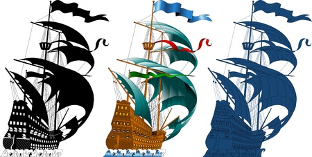 large sailing ship sailing on the waves (vector silhouette);  Vector