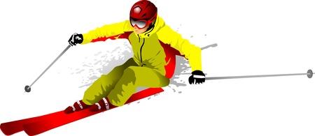 ski�r: skiër op de snelweg (vector illustratie); Stock Illustratie
