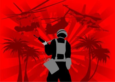 kalashnikov: fight night in the jungle on a red background;  Illustration