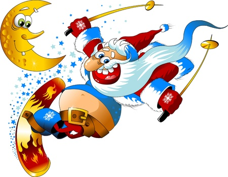 degraded: Ilustration for Christmas and New Year. Santa Claus. Bag with gifts. Vector;