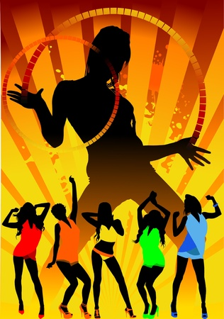 discotheque: Party at a nightclub decorated in red (vector illustration);