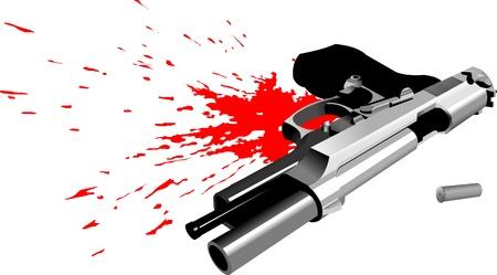 pistol lying in a pool of blood (vector illustration);  Illusztráció