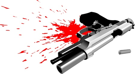 bullets: pistol lying in a pool of blood (vector illustration);  Illustration