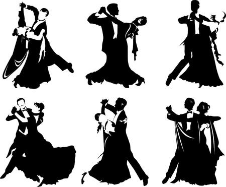 silhouettes of people dancing the waltz Vector
