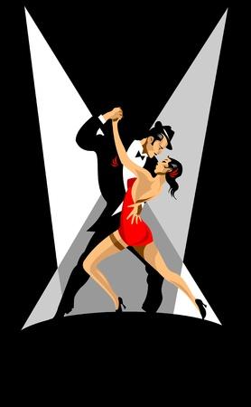 latin dance: echtpaar neemt deel aan wedstrijden in de tango in het donker.